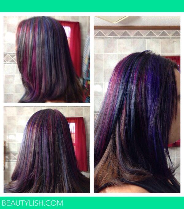 Pink Blue Purple Strips In Dark Brown Hair Hair Styles Hair