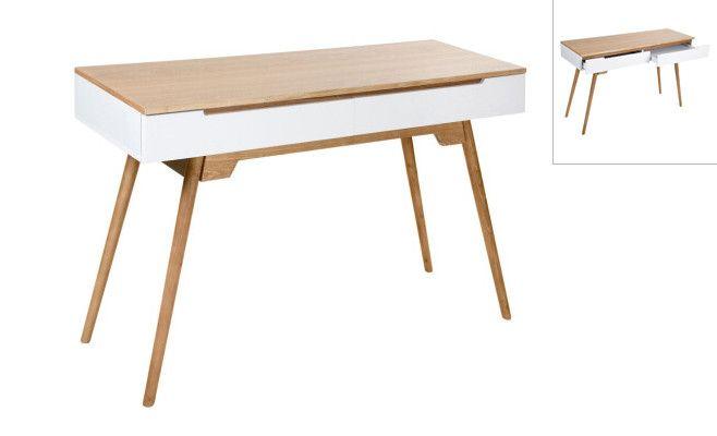 Bureau scandinave mdf et bois d hévéa coloris bois et blanc x