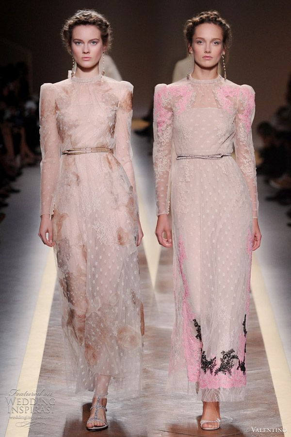 Dresses from Valentino Spring/Summer 2012 ready-to-wear collection. Puffed, long sleeves, sheer layers and touches of lace and floral applique are highlights of this romantic collection.