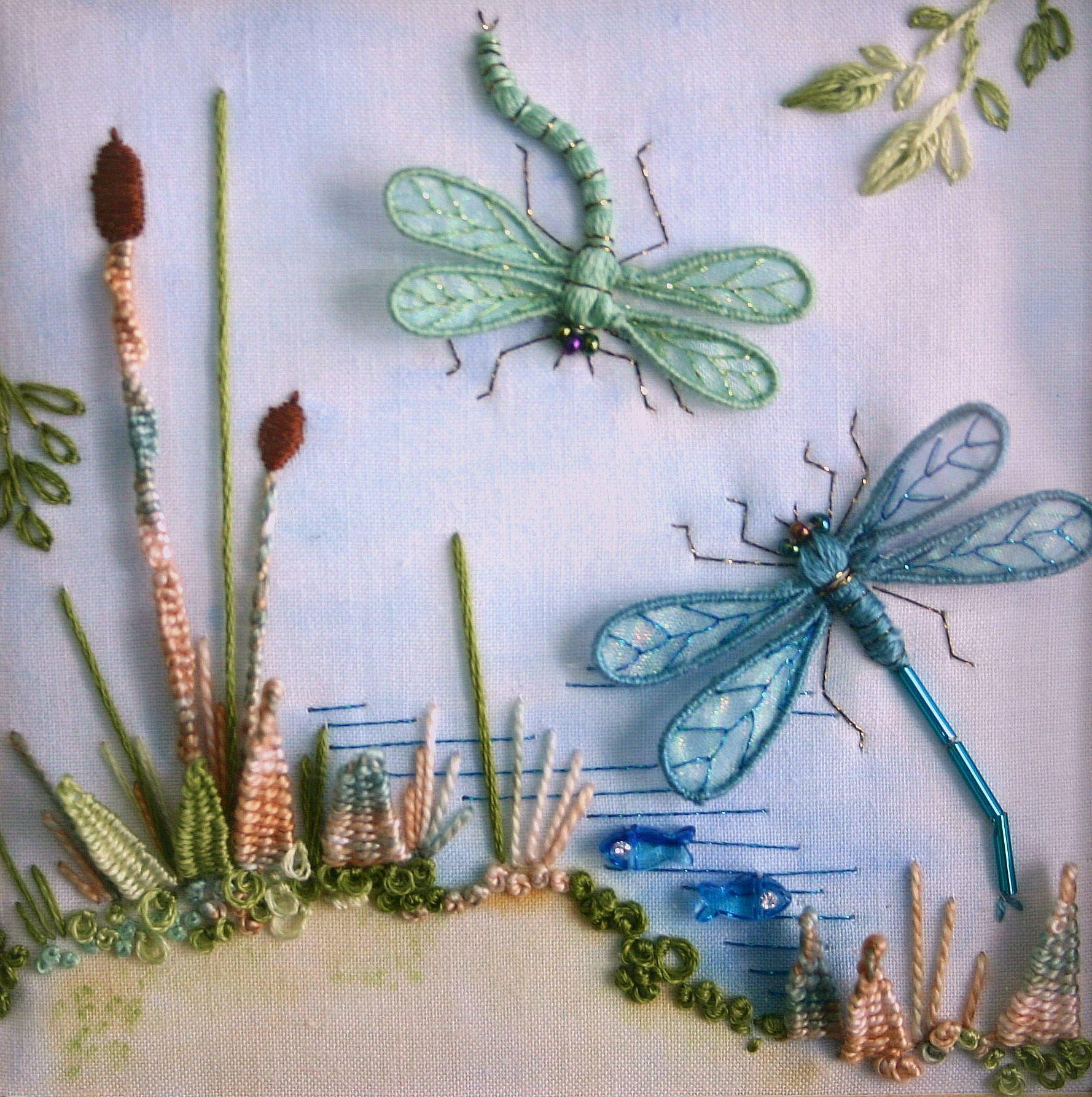 Stumpwork dragonfliesover lake all embroidery pinterest