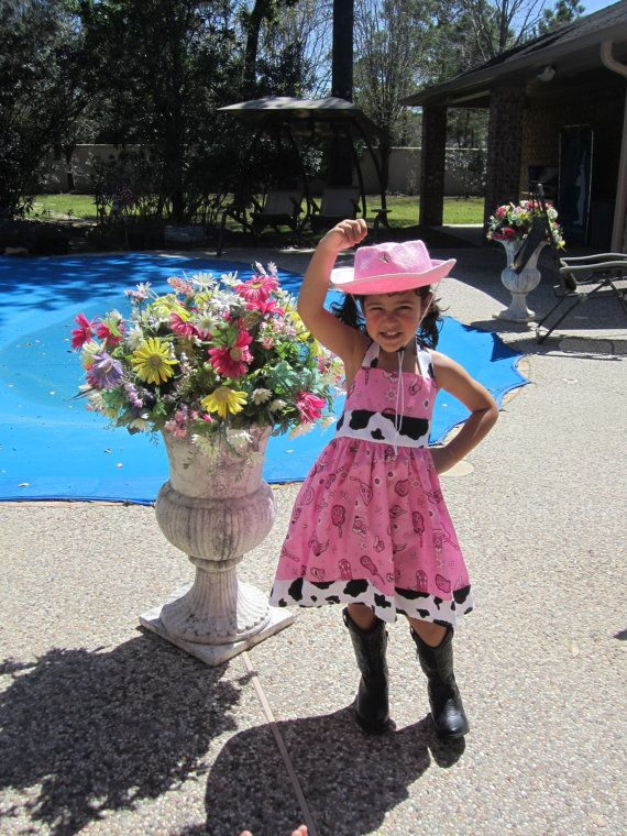 GIRLS Hot Pink COWGIRL Square Dance Custom Halter Dress on Etsy, $29.00