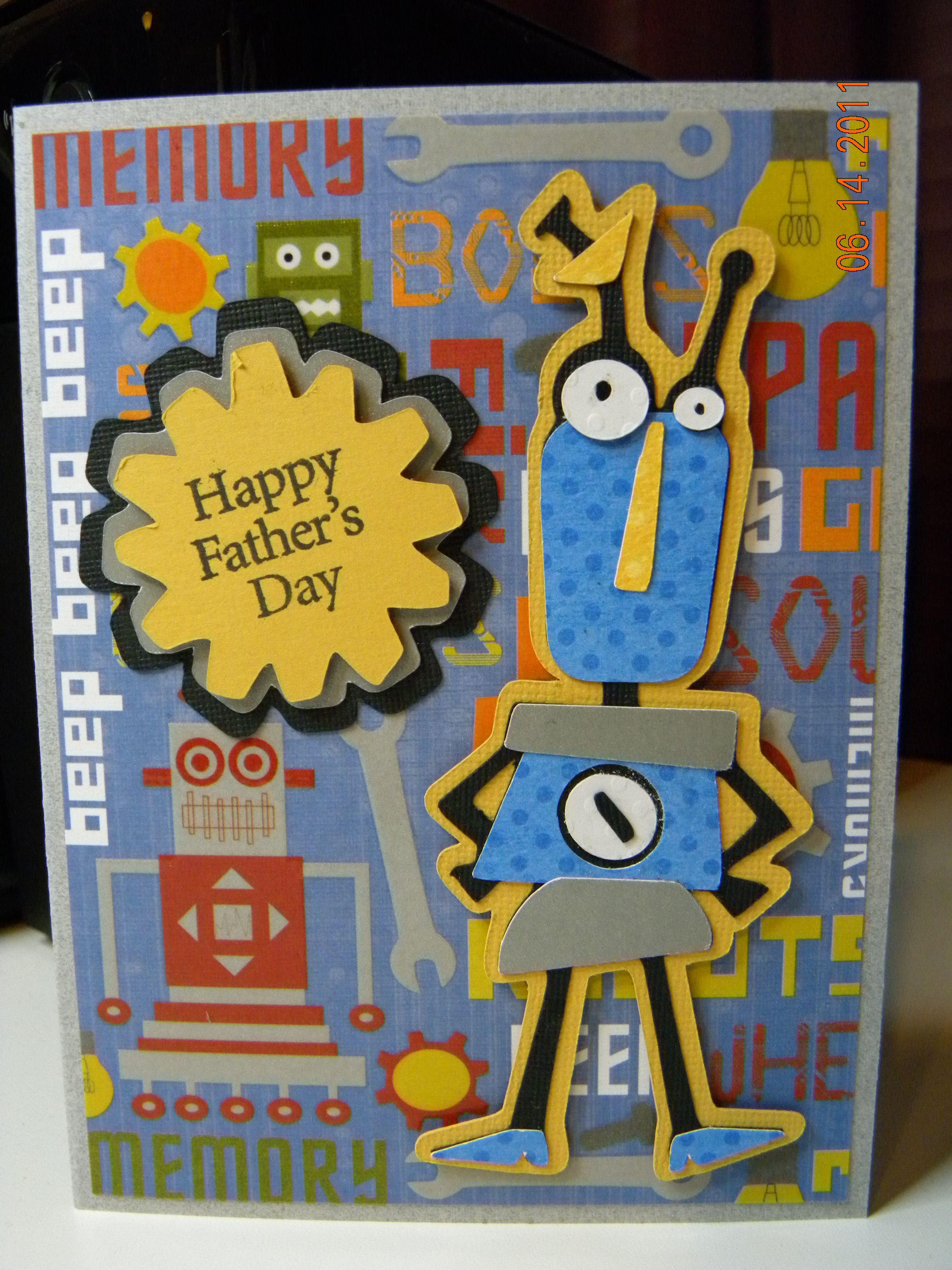 Fathers day card using cricut robotz cartridge cricut