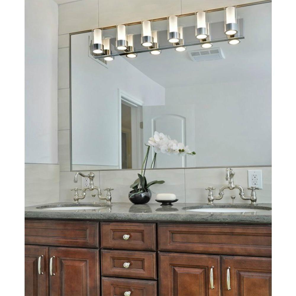 Maxim Lighting Silo 6 Light Polished Chrome Bath Vanity Light 23076clftpc The Home Depot Polished Chrome Bath Vanities Bath Vanity Lighting