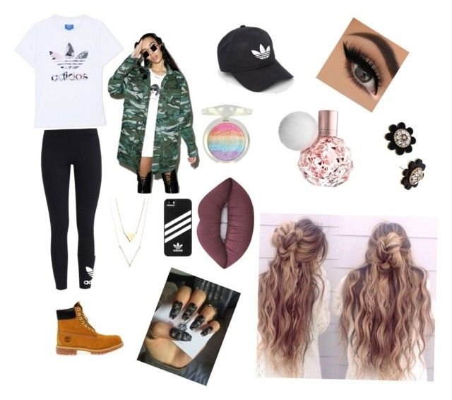 """""""Hipster look!"""" by izzyfleenor on Polyvore featuring Disturbia, adidas Originals, Timberland, adidas, Lime Crime and Kate Spade"""