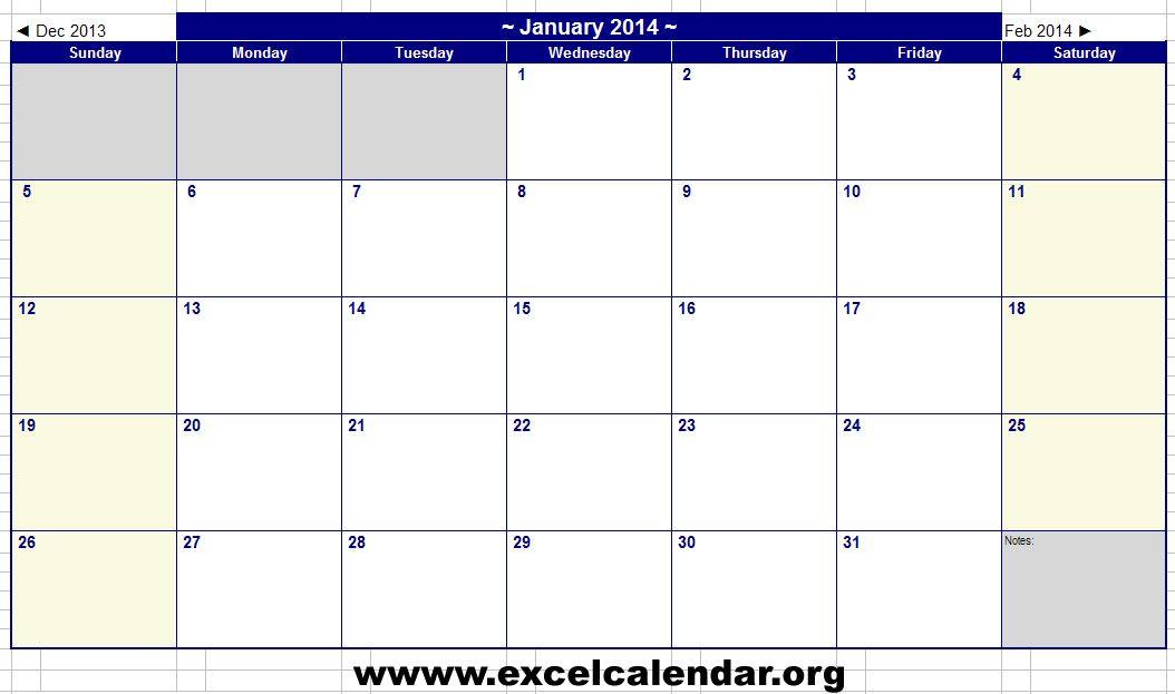 January  Calendar  January  Calendar Excel Template