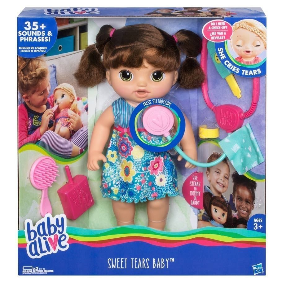 Baby Alive Sweet Tears Baby Brown Hair English Spanish 35 Sounds And Phrases Hasbrobabyalive Dollswithclothingacce Baby Alive Baby Dolls Baby Alive Dolls