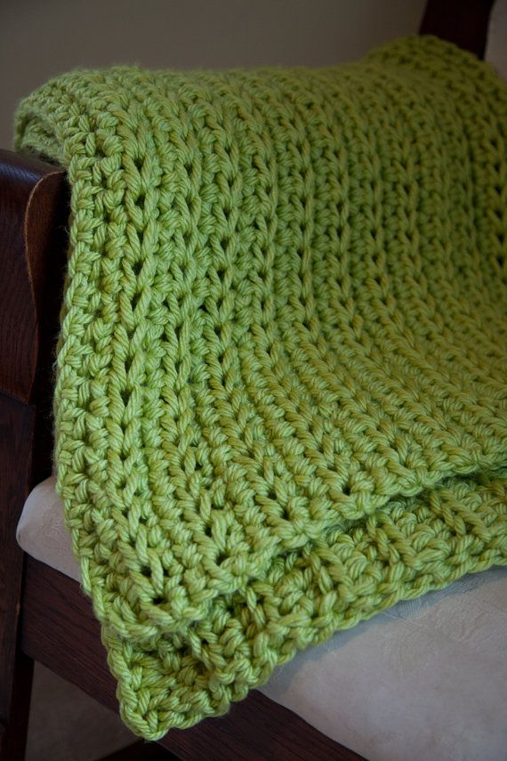 Crochet Throw Blanket Lime Green Afghan Sofa by TheWillingHand ...