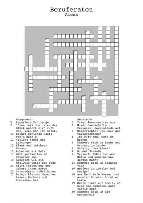 Kreuzworträtsel Berufe (2) - Aphasie | Deutsch