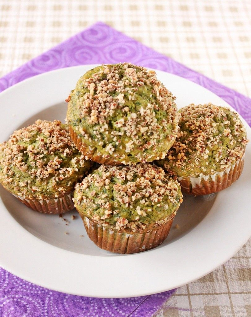 Healthy Green Muffins with Spinach, Banana, and Walnuts. (Sub sugar with honey and oil with unsweeted applesauce)
