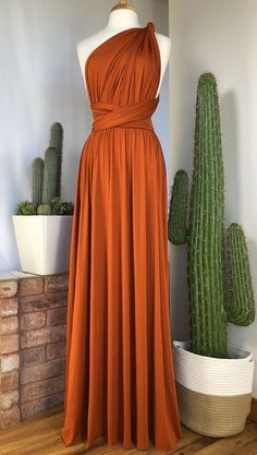 BURNT ORANGE Bridesmaid Dress/ CUSTOM LeNGTHS/ Con