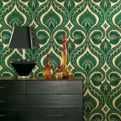 Dryden A Flocked Damask In Rich Emerald Green With Soft Gold Background Available At Walnut Wallpaper
