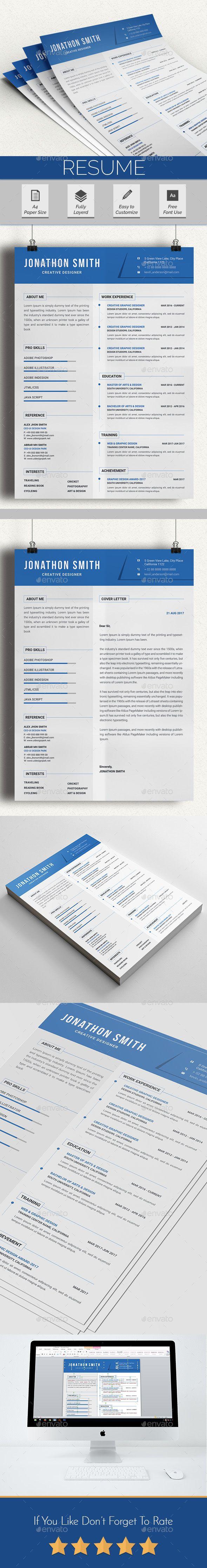 Resume Template PSD, MS Word | CV | Pinterest | Currículum