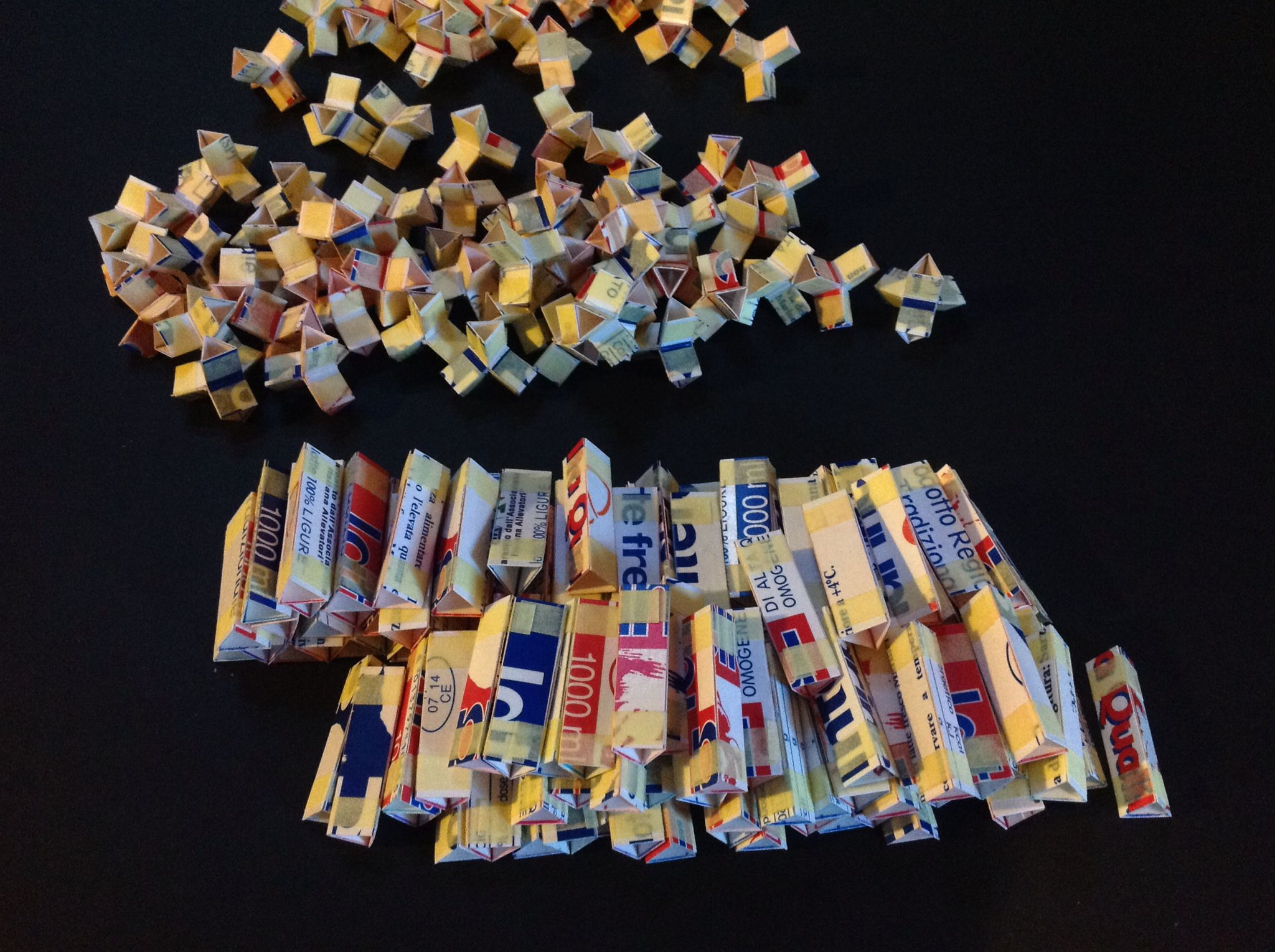 Space tiling toy. Crystallographers' toy. Up cycled milk cartons. DIY cubic honeycomb kit.