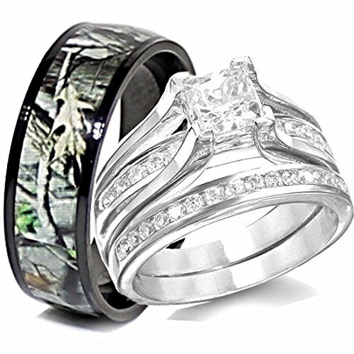 His Anium Camo Hers Sterling Silver Wedding Rings Set Camouflage Black 3pcs Size Men