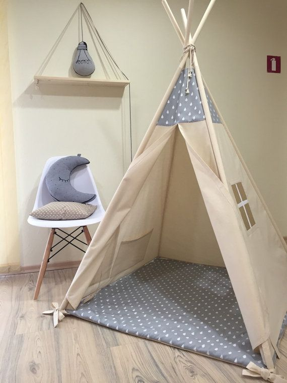 Gray Raindrops Kids Teepee Play Tent Natural Canvas Plain Kids