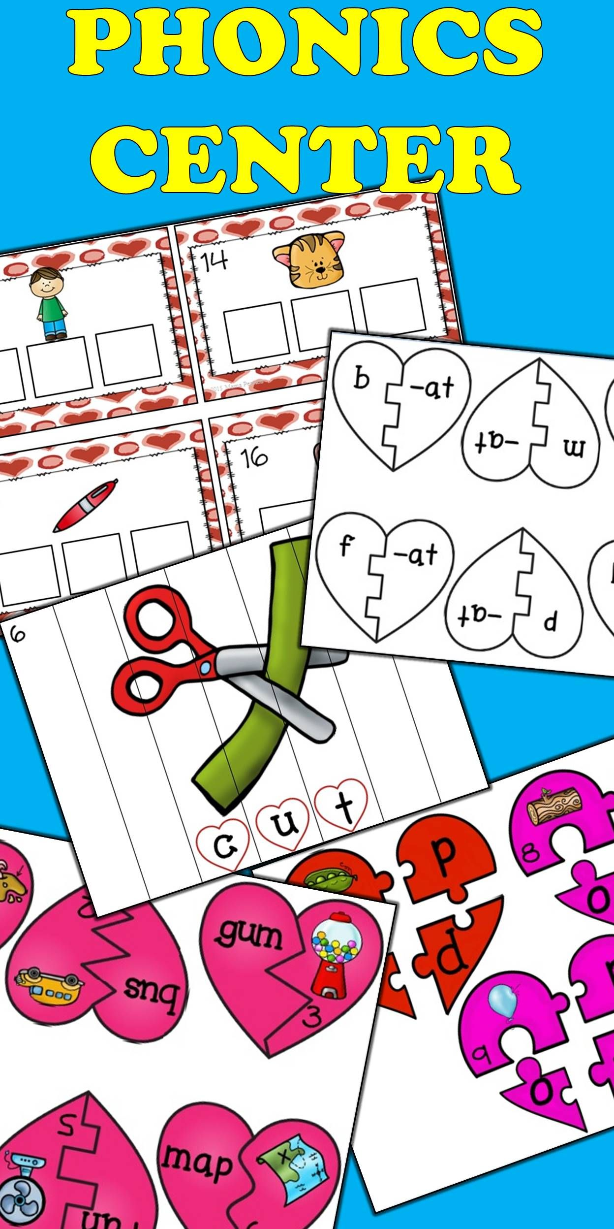 Valentine S Day Literacy Center Phonics Cvc