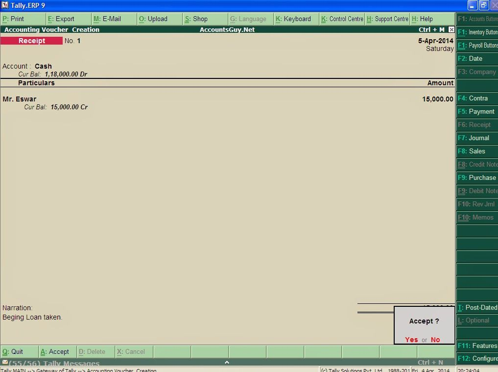 How to record Unsecured Loan receipt entry in TallyERP 9 - payroll receipt
