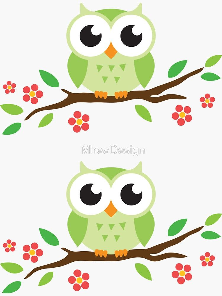 Pegatina Lindo Buho Verde De Dibujos Animados En Pegatinas De Rama Floral De Mheadesign Imagenes De Lechuzas Buhos Animados Dibujos De Buhos Animados