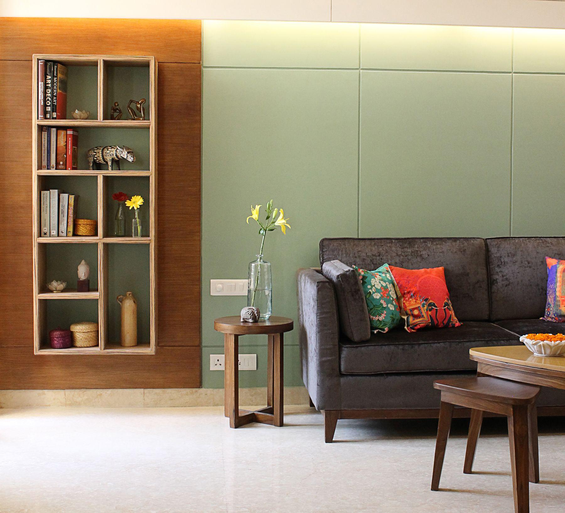 Home interior design gurgaon book shelf in living room spda interior design studio gurgaon  my