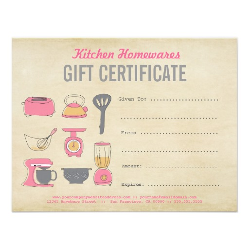 Kitchen Homewares Gift Certificate Gift Voucher Diy Template Graphic Designed Template Ready