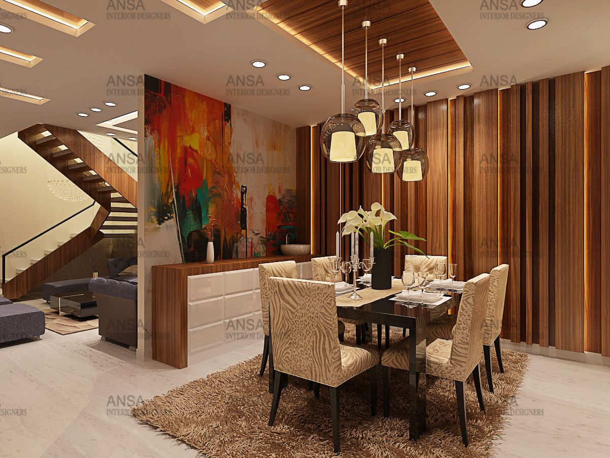 Dining Area With Lighting By Best Interior Designer In Delhi Ncr