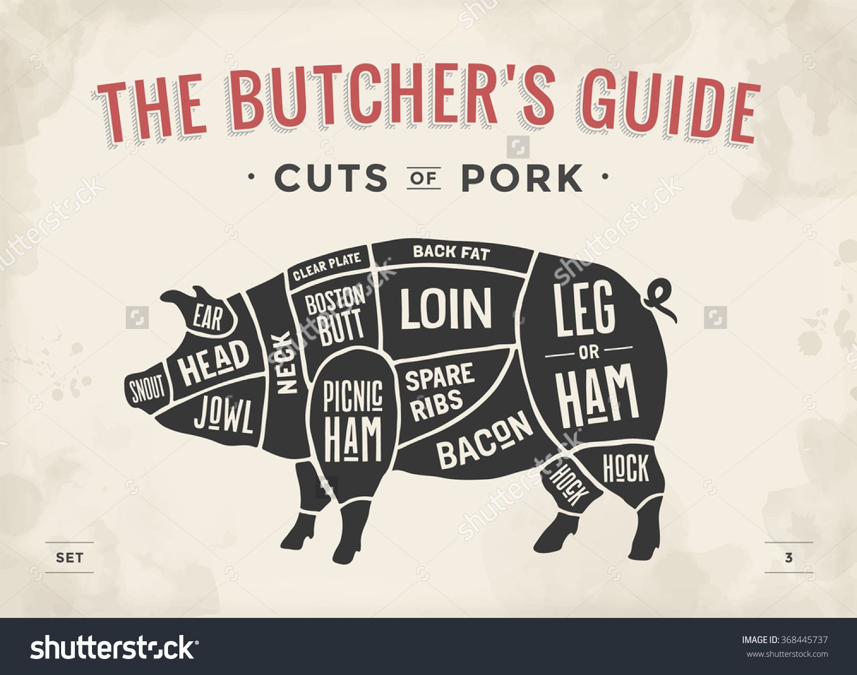 03518d0b75bd7c0306699006f9eb7e75 cut of meat set poster butcher diagram, scheme and guide pork
