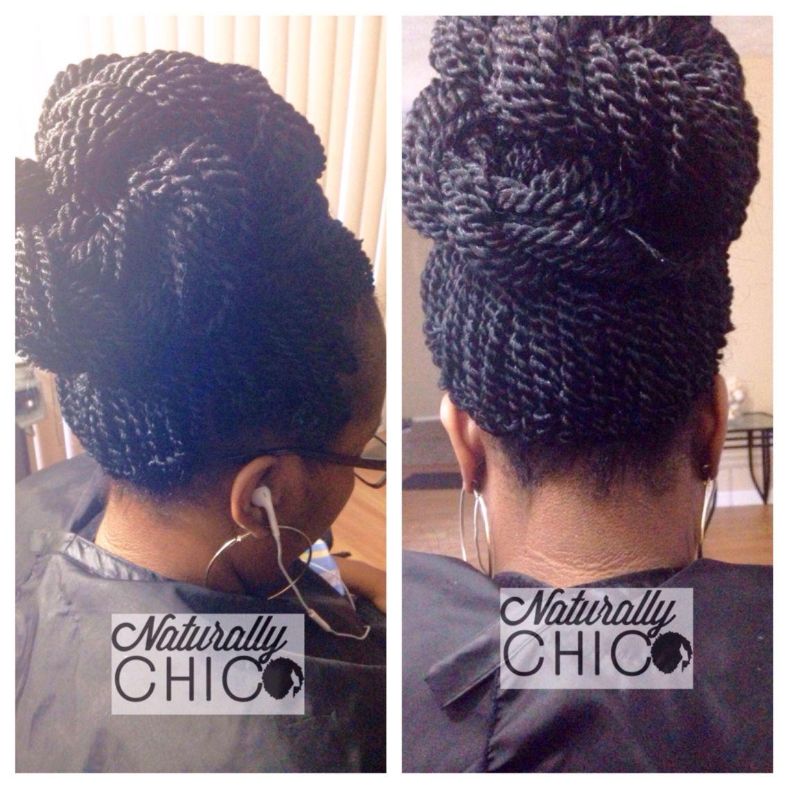 crochet senegalese twists styled in bun updo style | hair in