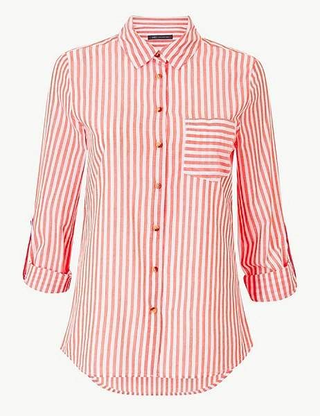 M/&S/&W Mens Button Down Vertical Formal Striped Work Wear Long-Sleeve Tops