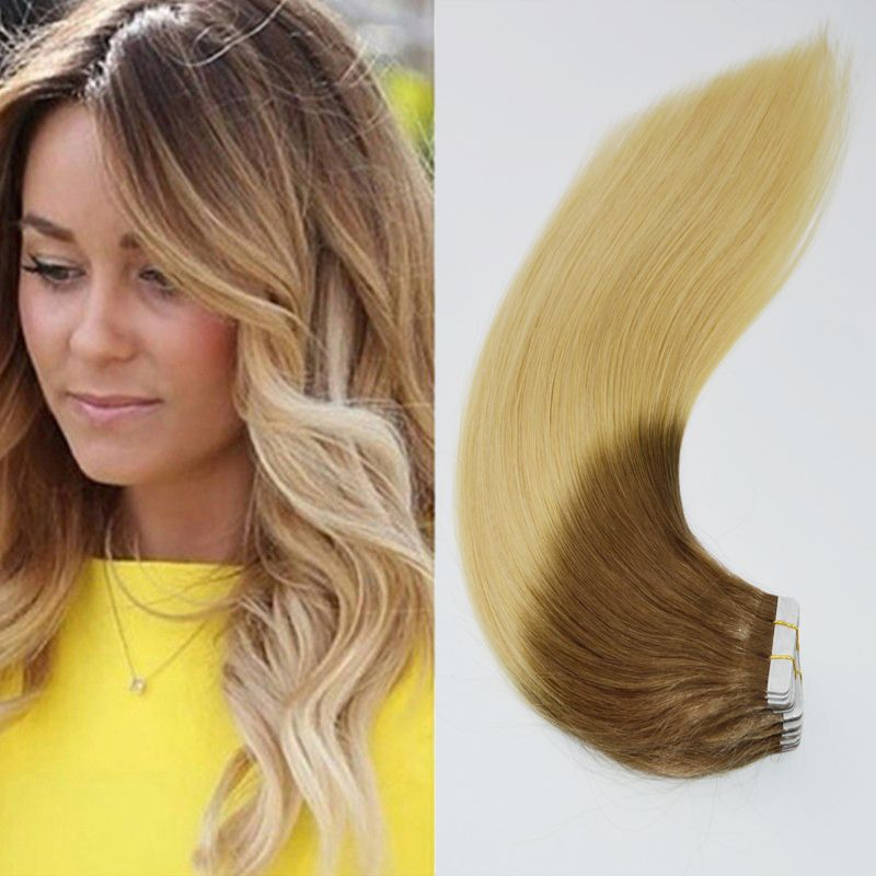 Ombre Remy Tape In Skin Weft Human Hair Extension Tape In Hair