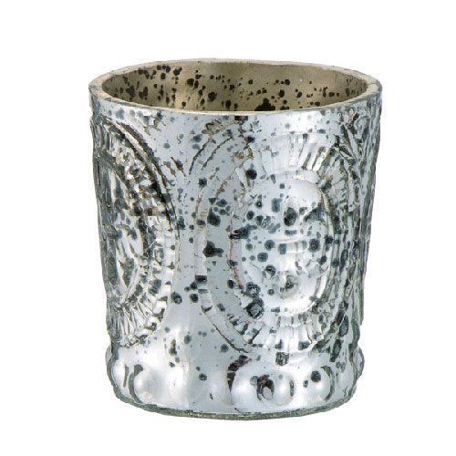 Antiqued Silver Small Votive with Fleur-de-Lis