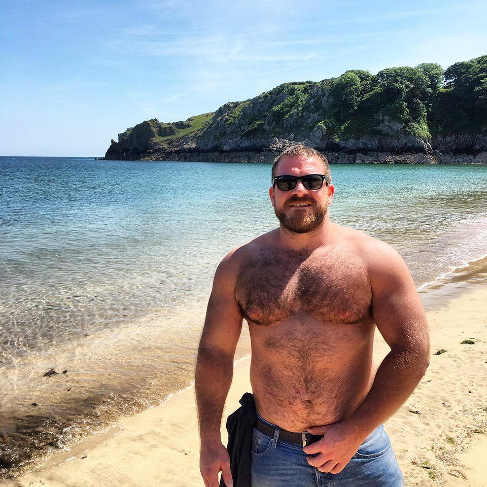 hairy mature on beach