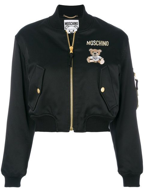 Envers Satin Bomber Jacket W Bear Patch In Black | Roupas