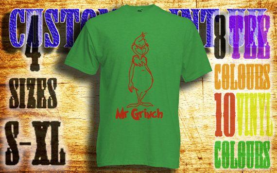 mensMr Grinch vinyl press Tshirt sizes s-xl by customprintuk