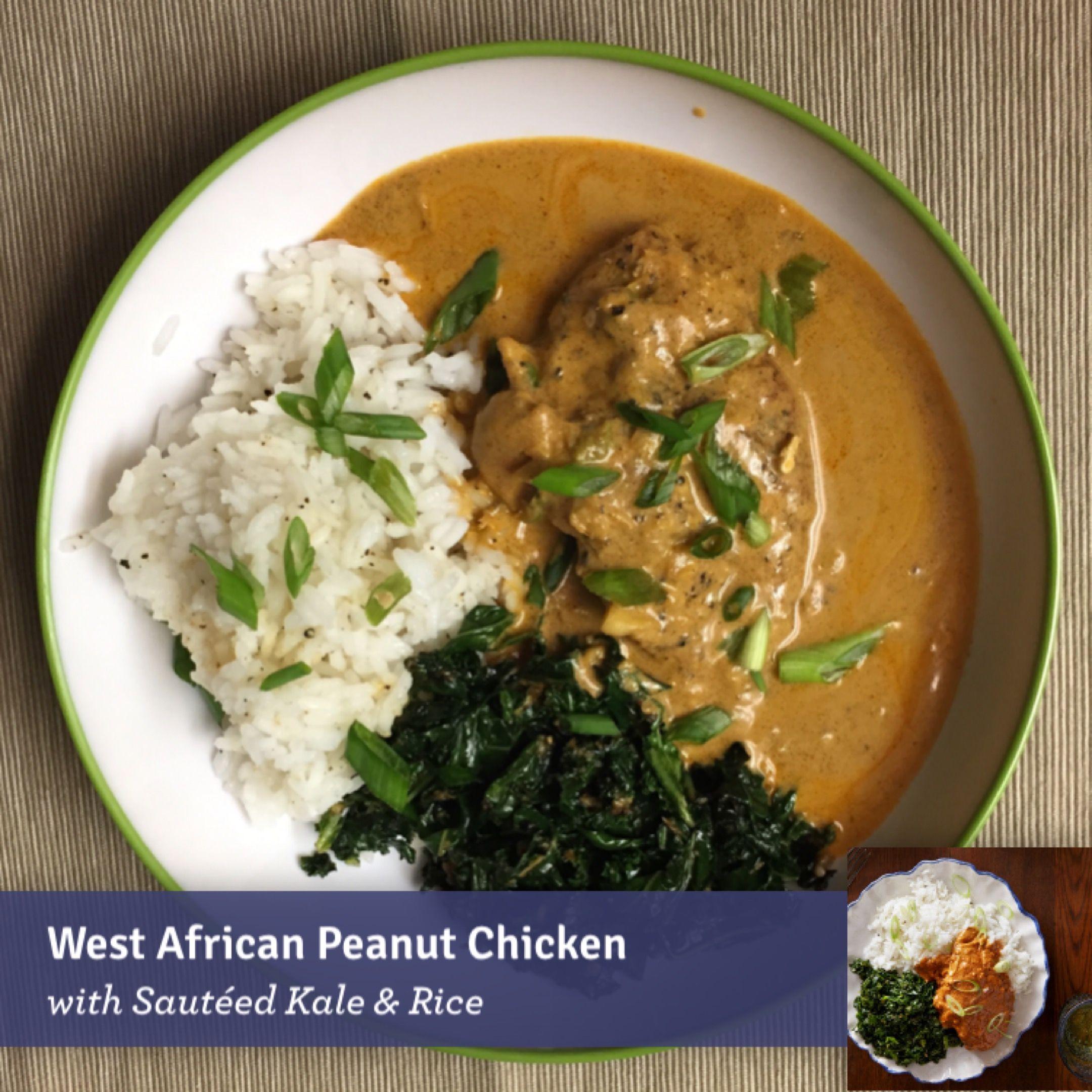 Blue apron kale - West African Peanut Chicken With Saut Ed Kale Rice Blueapron