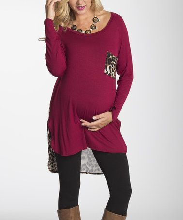 Take a look at this Burgundy Leopard-Contrast Maternity Top on zulily today!