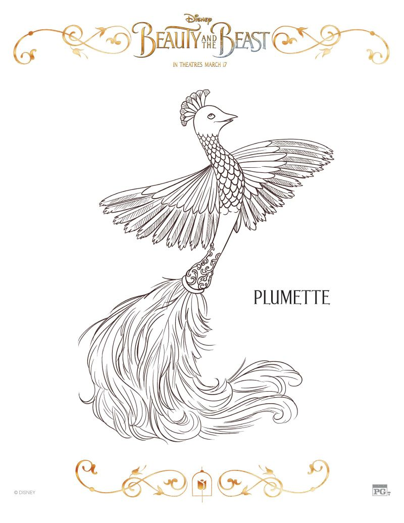 Disney Beauty And The Beast Plumette Coloring Page