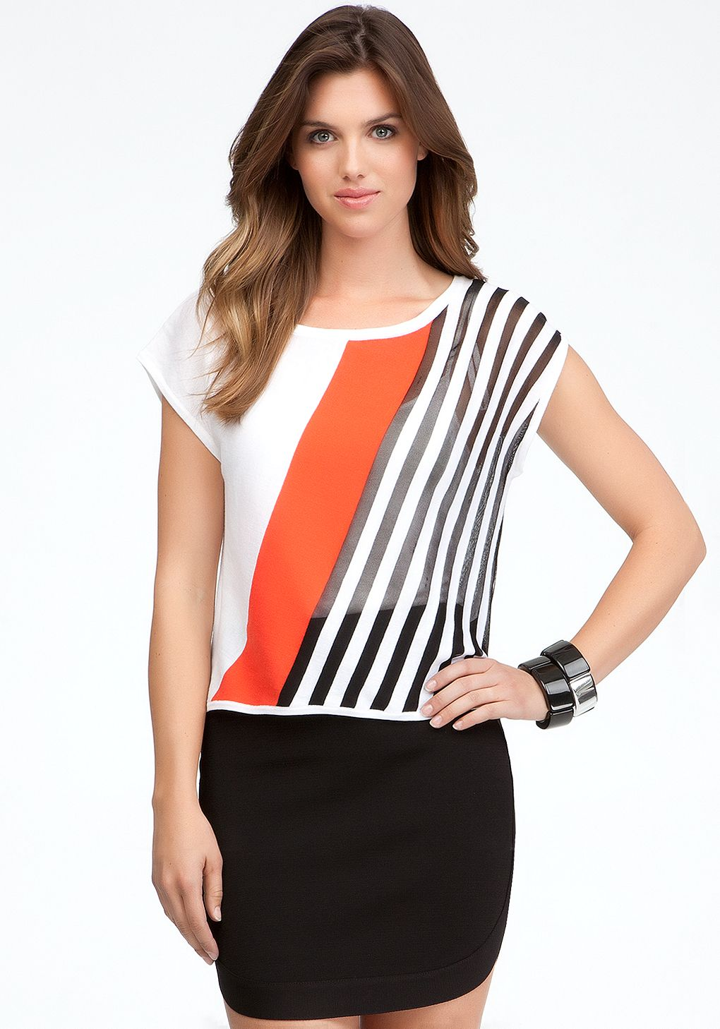 124a52b2d332 Diagonal strip colorblock top, drop shoulder, black is mesh see through,  but could just use regular stripe fabric.