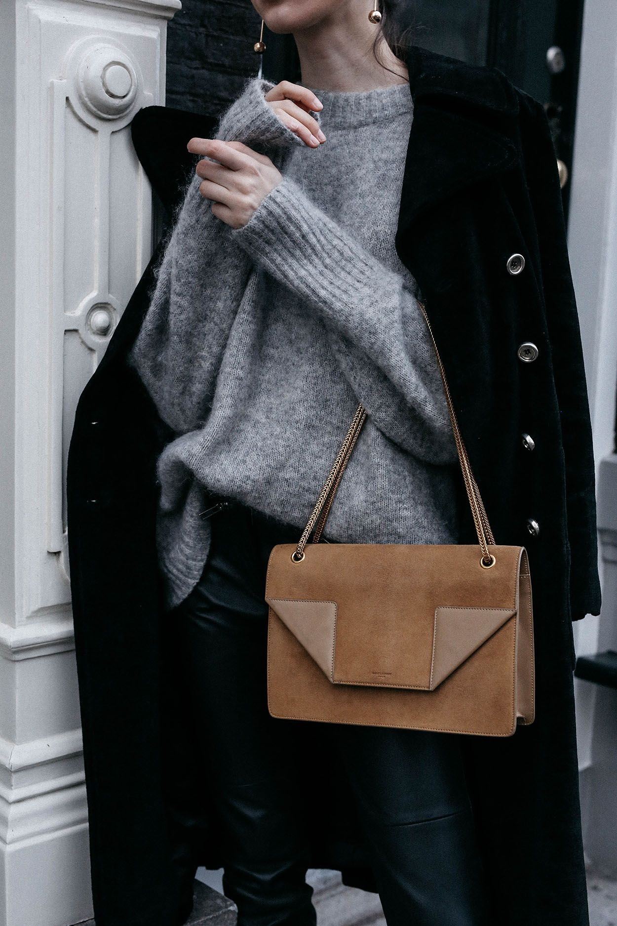 bc9a240f5c6 Saint Laurent Betty suede bag with H M Trend grey oversized mohair sweater  easy chic winter outfit ideas