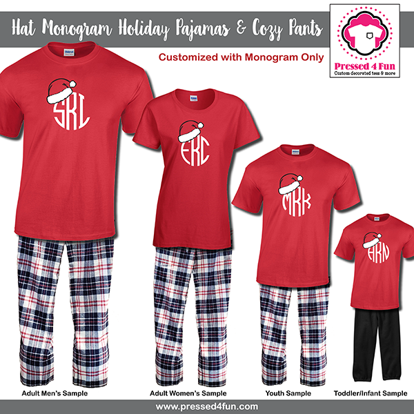 e6156db070 Matching Christmas Pajamas & Youth Cozy Pants Hat Monogram Design | Holiday  Gift | Family Matching Pajamas #matchingchristmaspajamas #christmaspajamas  ...