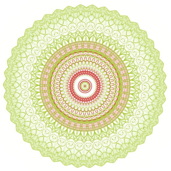 Lime green and coral kaleidoscope geometric shapes by LadyHonsa ...
