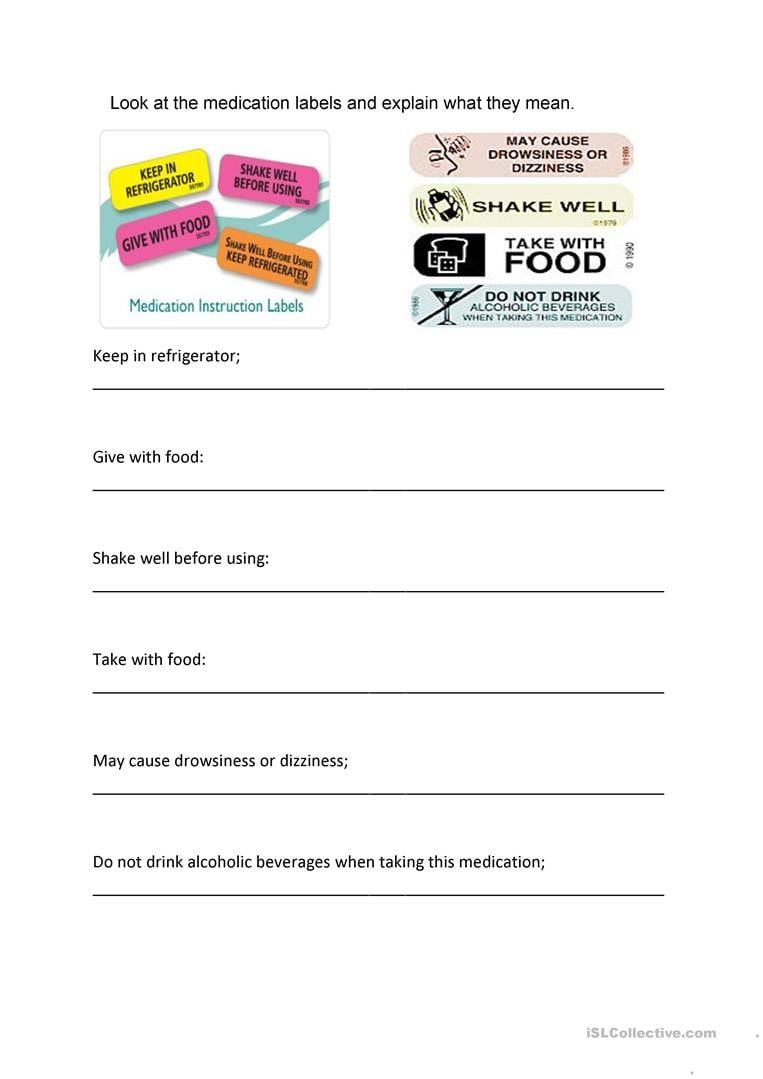 Reading Medication Labels Worksheets