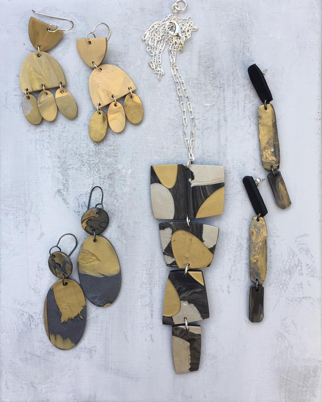 Polymer jewelry, gray and golds by Linda Brooks | gifts | Pinterest