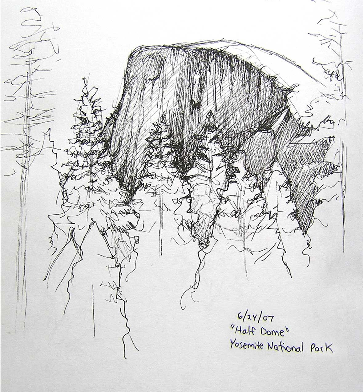 Yosemite National Park Cartoon Drawing