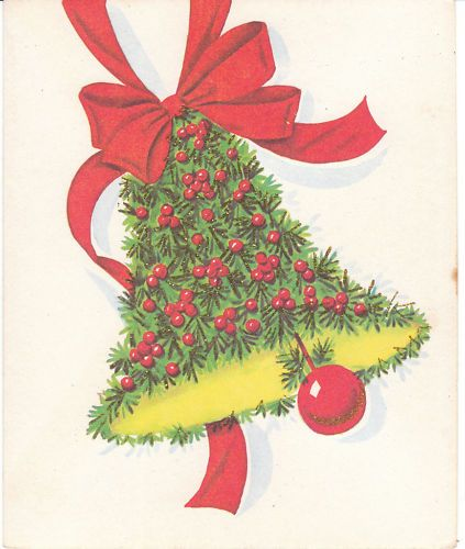 vintage christmas card greenery bell glitter 1950s to 1960s made in