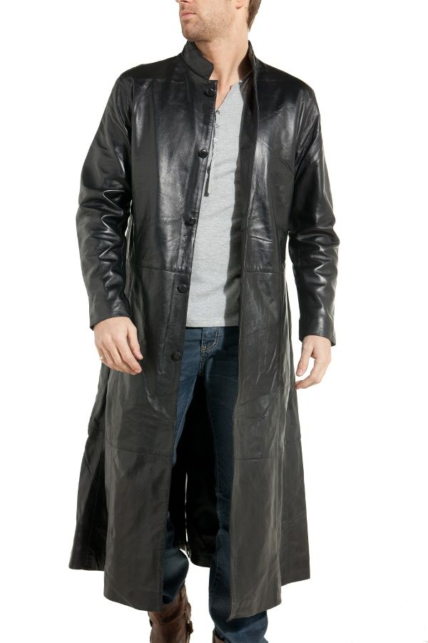 Manteau long homme en cuir noir last rebels | Manteau long