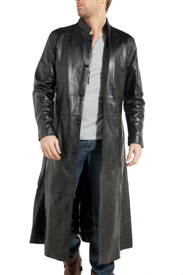 manteau long homme en cuir noir last rebels mode masculine manteau manteau long homme et. Black Bedroom Furniture Sets. Home Design Ideas