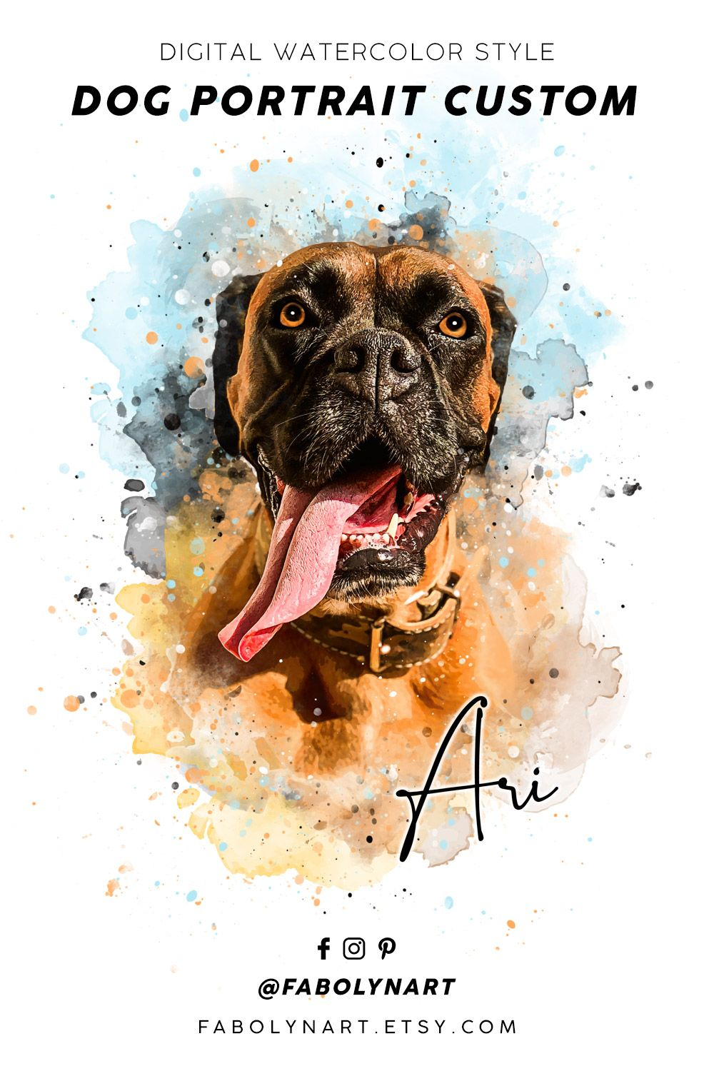 Pet Portrait Custom Dog Portrait Dog Painting Watercolor Pet