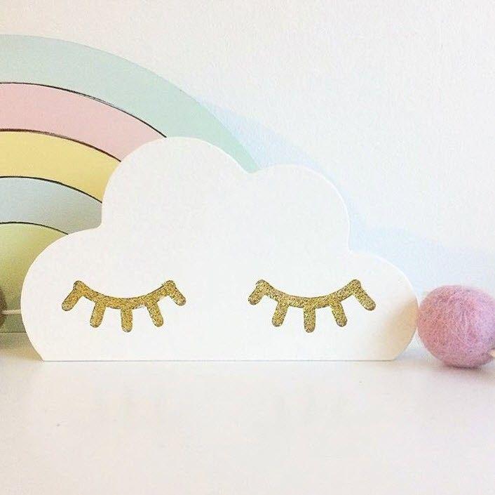 Kinderzimmer Dekoration, Wolke mit goldenen Augen, 11 x 6 cm, aus - deko kinderzimmer