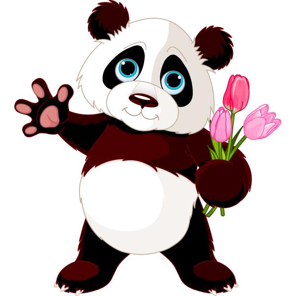 Panda With Flowers Panda Happy Panda Cute Panda Et Panda
