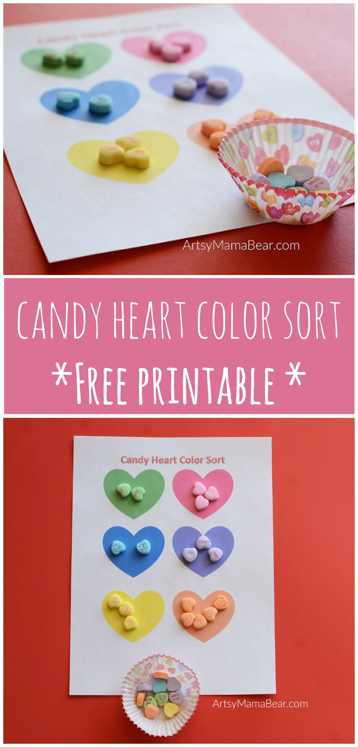 Candy Heart Color Sort Free Printable
